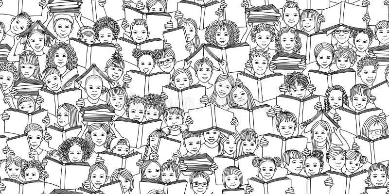 Bezszwowy czarny i biały sztandar dziecko czytelnicze książki royalty ilustracja