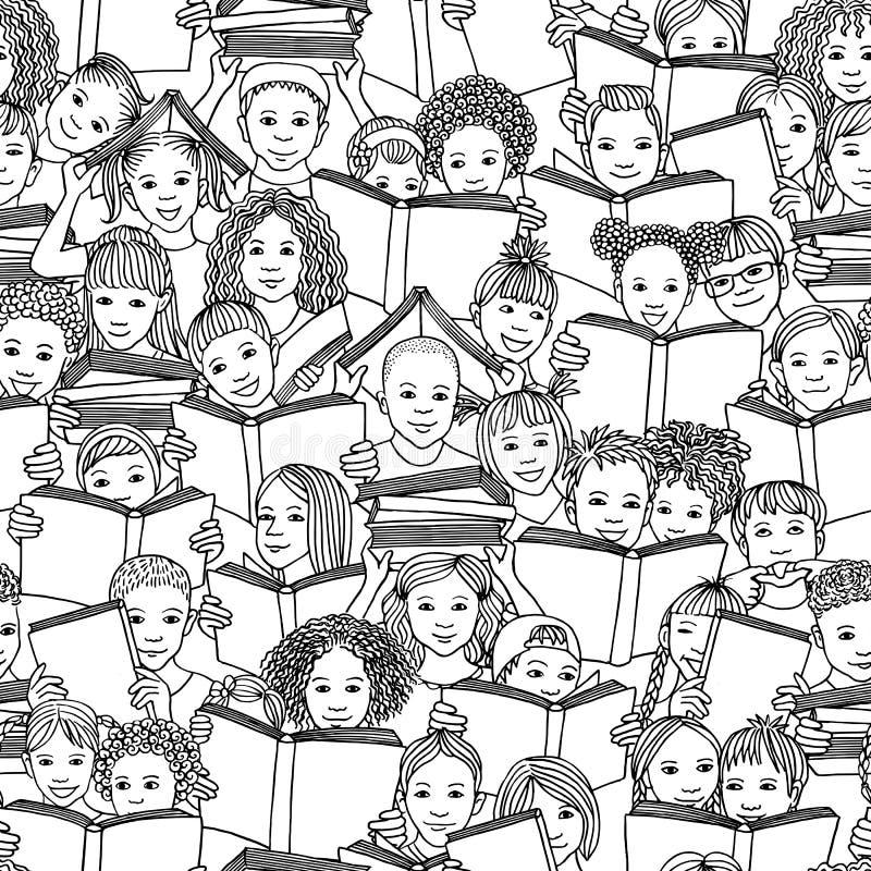 Bezszwowy czarny i biały wzór dziecko czytelnicze książki royalty ilustracja