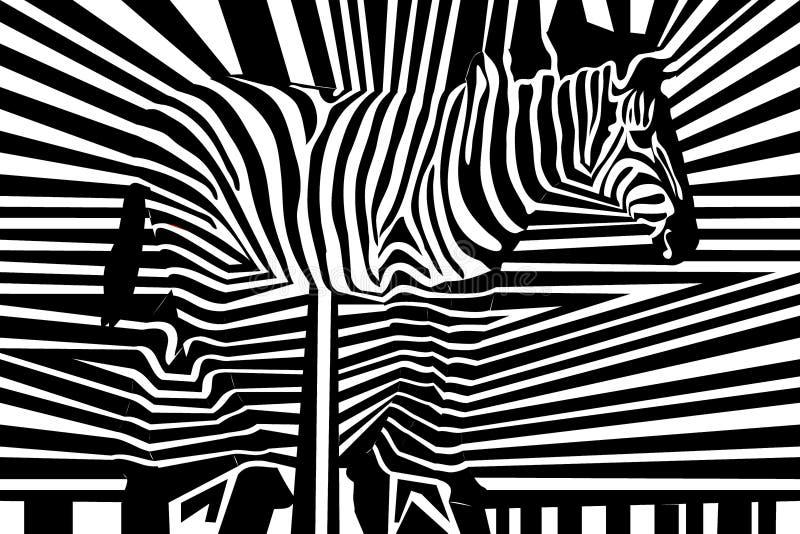 Bezszwowy czarny i biały obdzierający wzór z zebrą ilustracja wektor