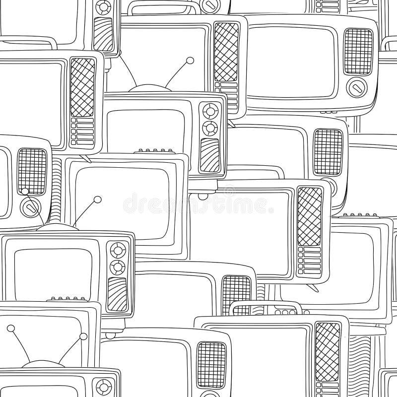 Bezszwowy czarny i biały tv wzór royalty ilustracja