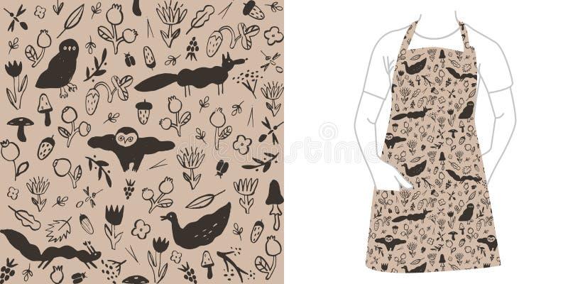 Bezszwowy czerń wzór z dzikimi zwierzętami, kwiatami, jagodami, pieczarkami i insektami, ilustracji