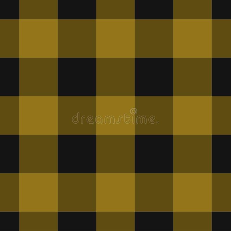 Bezszwowy czerni, ciemnego i jaskrawego żółty tartan, ilustracji