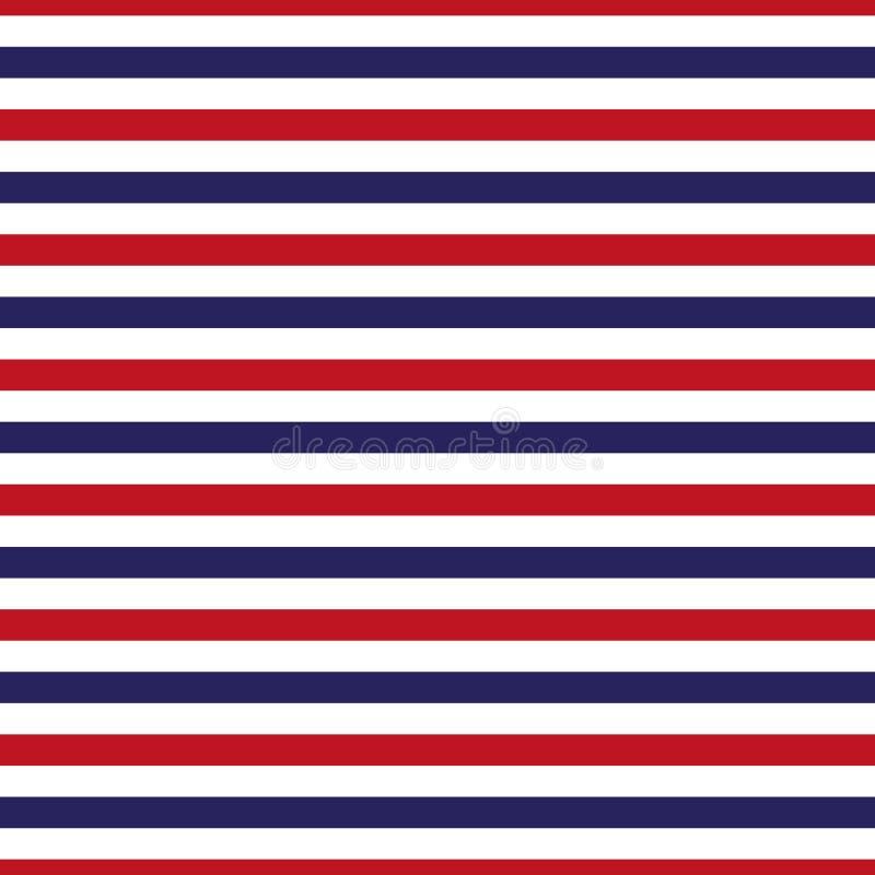 Bezszwowy czerwieni, białego i błękitnego lampasa wzór, ilustracja wektor