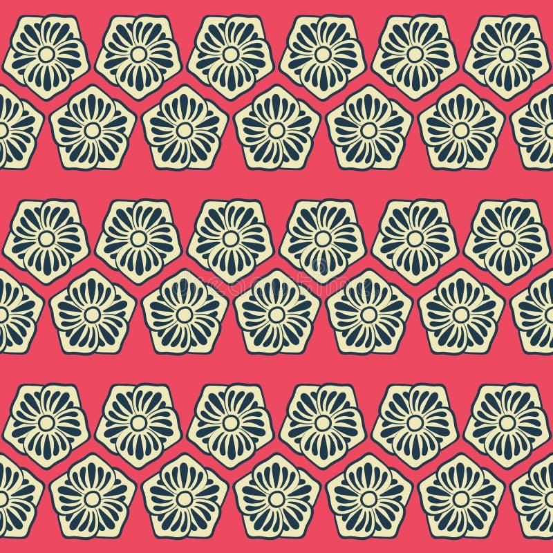 Bezszwowy czerwieni, kremowego i czarnego kwiecisty geometryczny wektoru wzór, Śmiały geometryczny powierzchnia wzoru projekt dos royalty ilustracja