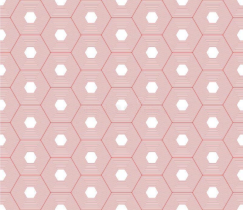 Bezszwowy czerwony geometria wzór abstrakcjonistyczny czerwony art deco wzór royalty ilustracja