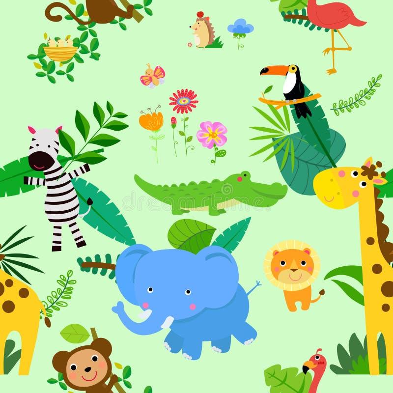 Bezszwowy, dżungli tła Zwierzęcy O temacie wzory Papuga, las ilustracji