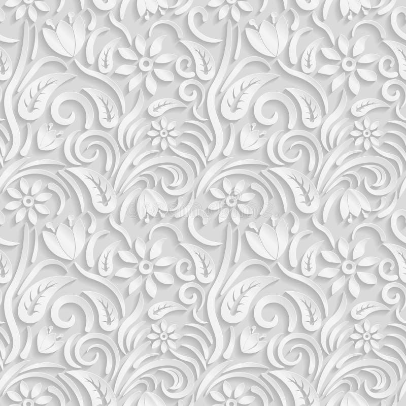 Bezszwowy 3D bielu wzór, naturalny kwiecisty wzór, wektor Niekończący się tekstura może używać dla tapety, deseniowe pełnie, stro royalty ilustracja