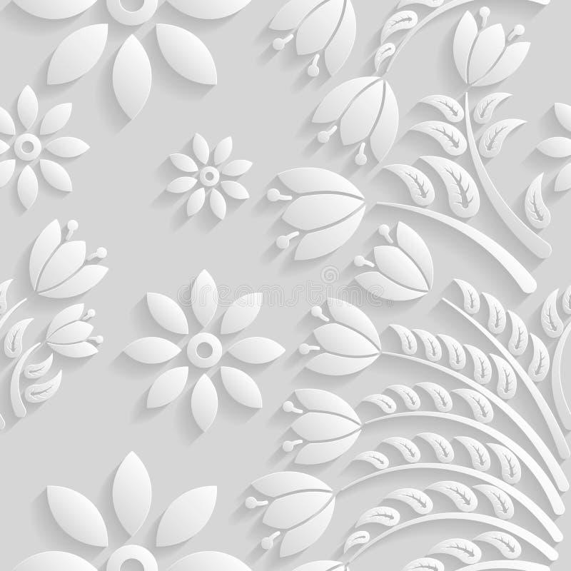 Bezszwowy 3D bielu wzór, naturalny kwiecisty wzór, wektor Niekończący się tekstura może używać dla tapety, deseniowe pełnie, stro ilustracja wektor