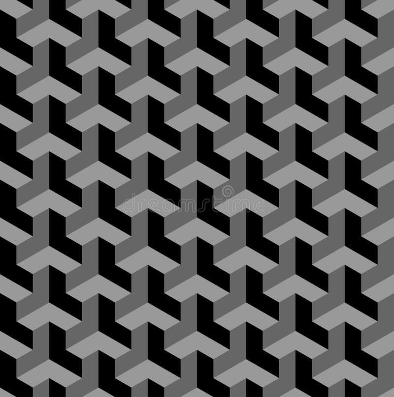 Bezszwowy 3d geometryczny wzór złudzenie optyczne Czerń, popielaty geometryczny tło i tekstura royalty ilustracja