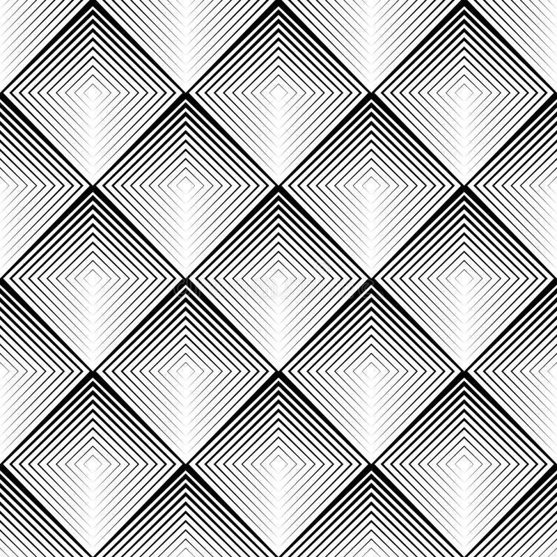 Bezszwowy 3d kwadrata wzór Wektorowa Czarny I Biały moda Ornam ilustracja wektor