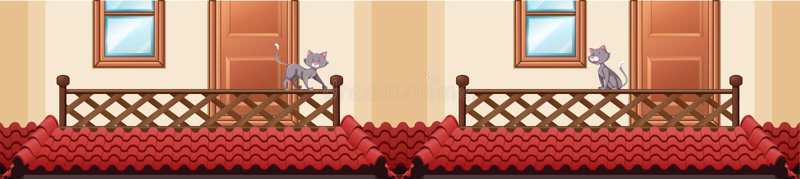 Bezszwowy dachowy projekt z kotem na balkonie royalty ilustracja