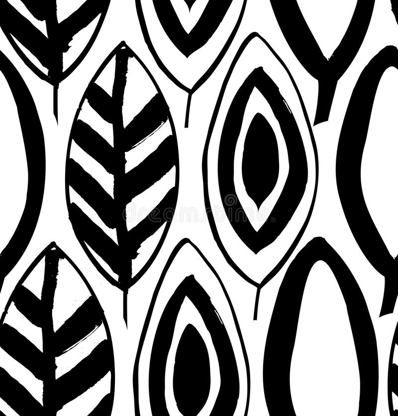 Bezszwowy dekoracyjny czarny i biały wzór z atramentem rysującym opuszcza royalty ilustracja