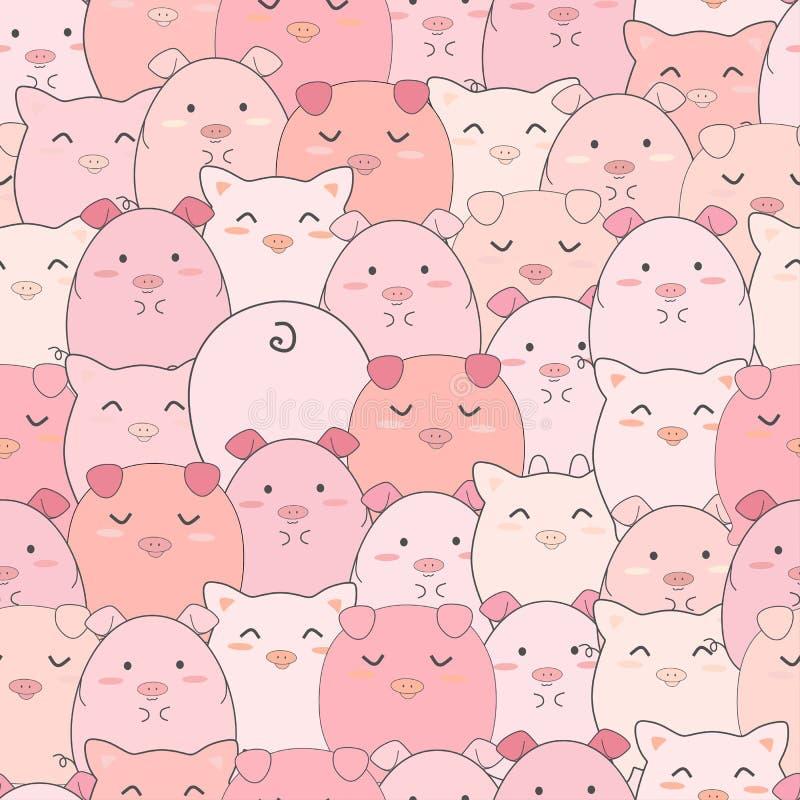 Bezszwowy deseniowy śliczny świni ono uśmiecha się ilustracja wektor