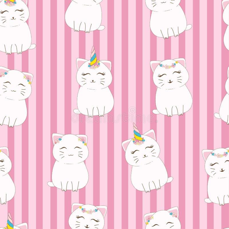 Bezszwowy deseniowy śliczny kot z jednorożec rogiem i kwiat koronujemy ilustracji