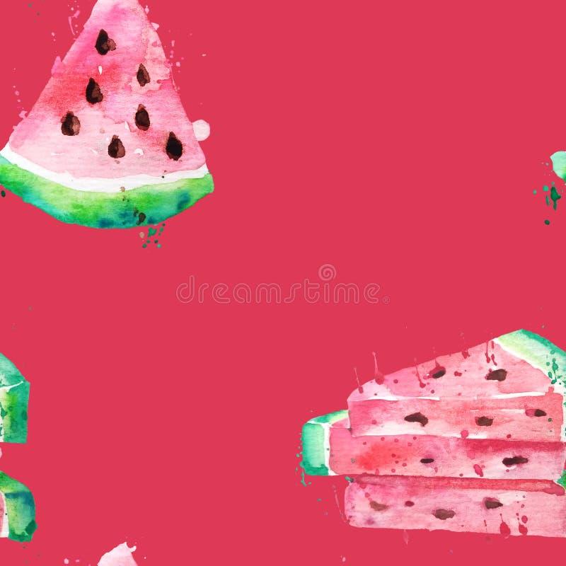 Bezszwowy deseniowy akwarela rysunek plasterki arbuzy z ziarnami i farb pluśnięciami Wielcy kawałki arbuz na czerwieni royalty ilustracja