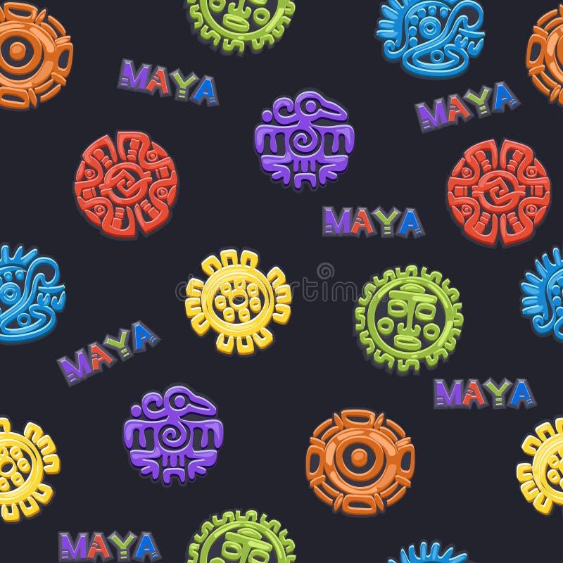 Bezszwowy deseniowy Antyczny Meksykański mitologia symbol, różni Wektorowi Amerykańscy aztec symbole, majski kultura miejscowego  ilustracja wektor
