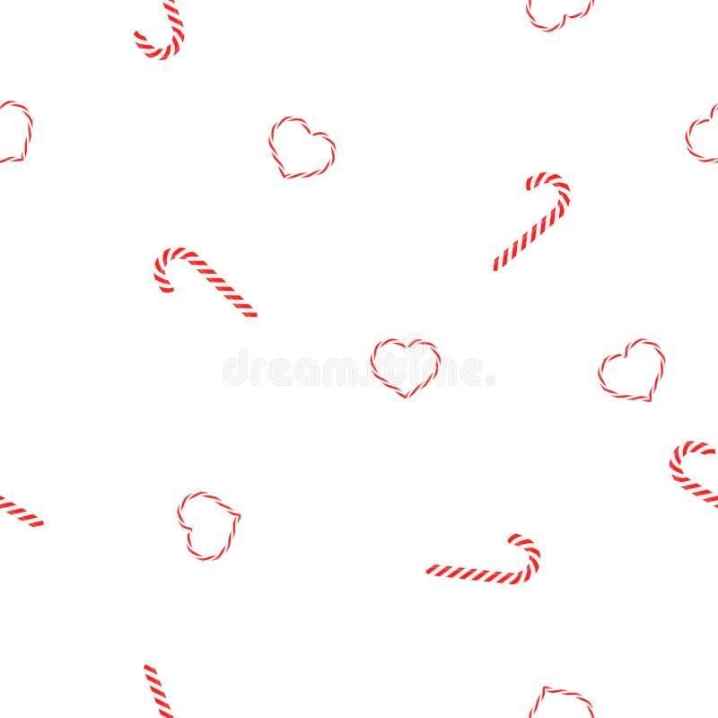 Bezszwowy deseniowy Bożenarodzeniowy cukierku karmel i serc lollypops na białym tle ruszać się po spirali ilustracji