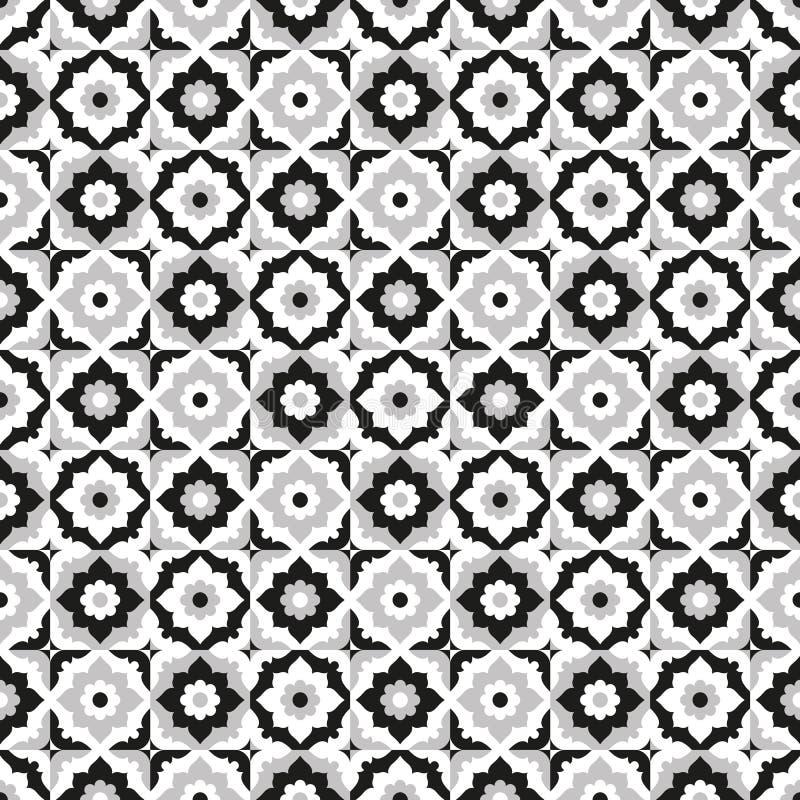 Bezszwowy deseniowy ceramiczny czarny i biały dachówkowy projekt royalty ilustracja