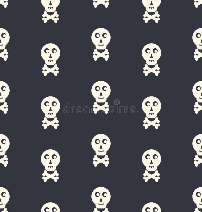 Bezszwowy Deseniowy czaszka biel royalty ilustracja
