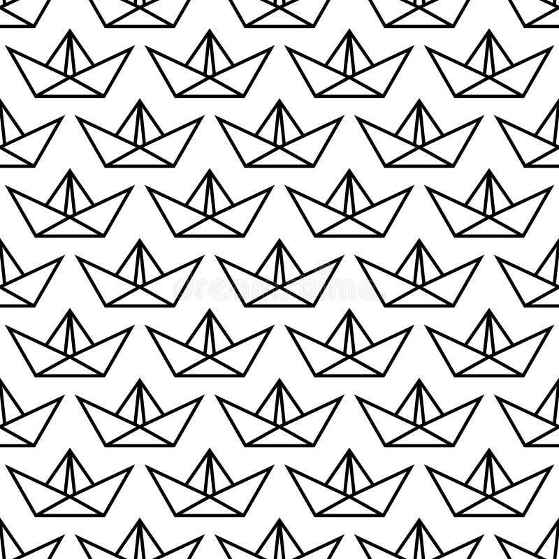 Bezszwowy Deseniowy Duży Papierowy łódź kontur Czarny I Biały ilustracja wektor