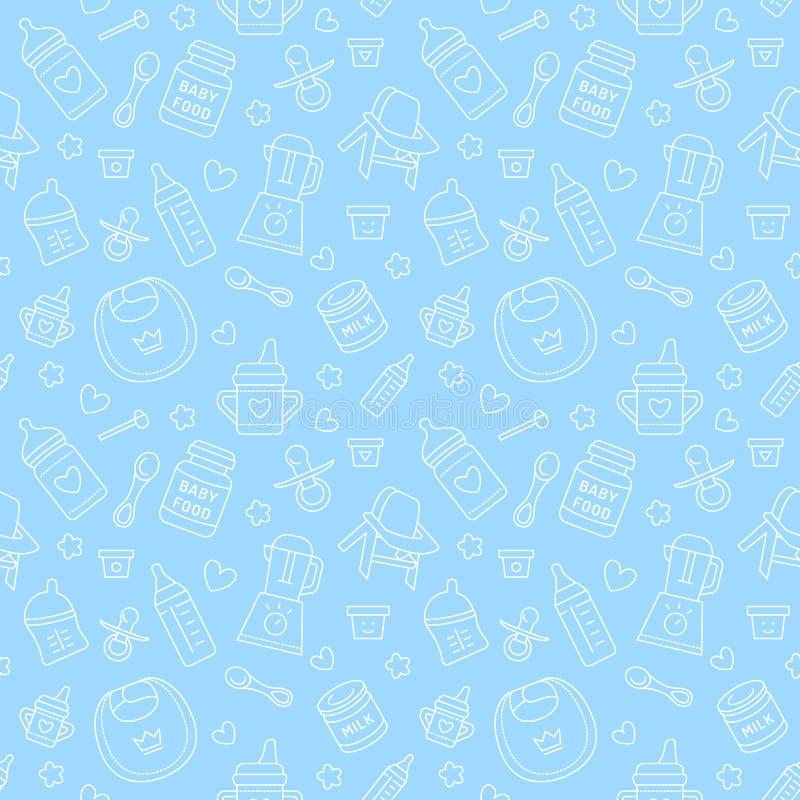 Bezszwowy deseniowy dziecka jedzenie, pastelowy kolor, wektorowa ilustracja Dziecięcego karmienia cienkie kreskowe ikony Śliczna  royalty ilustracja