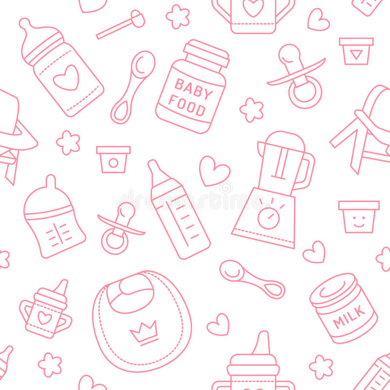 Bezszwowy deseniowy dziecka jedzenie, pastelowy kolor, wektorowa ilustracja Dziecięcego karmienia cienkie kreskowe ikony Śliczna  ilustracji