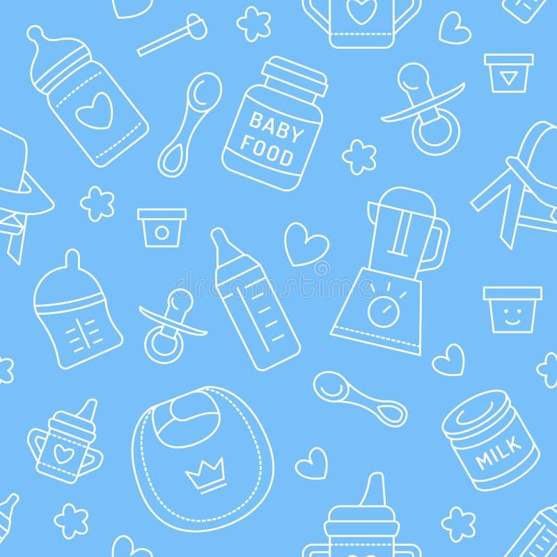 Bezszwowy deseniowy dziecka jedzenie, pastelowy kolor, wektorowa ilustracja Dziecięcego karmienia cienkie kreskowe ikony Śliczna  ilustracja wektor