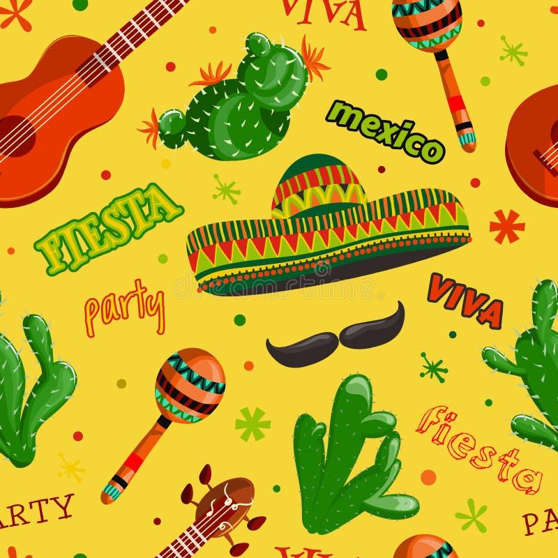 Bezszwowy deseniowy fiesta przyjęcie z meksykańską gitarą, marakasami, sombrero, wąsy i kaktusami, ilustracja wektor