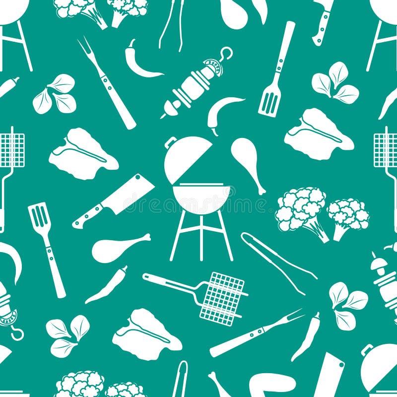 Bezszwowy deseniowy grill, grillów narzędzia, jedzenie BBQ ilustracji