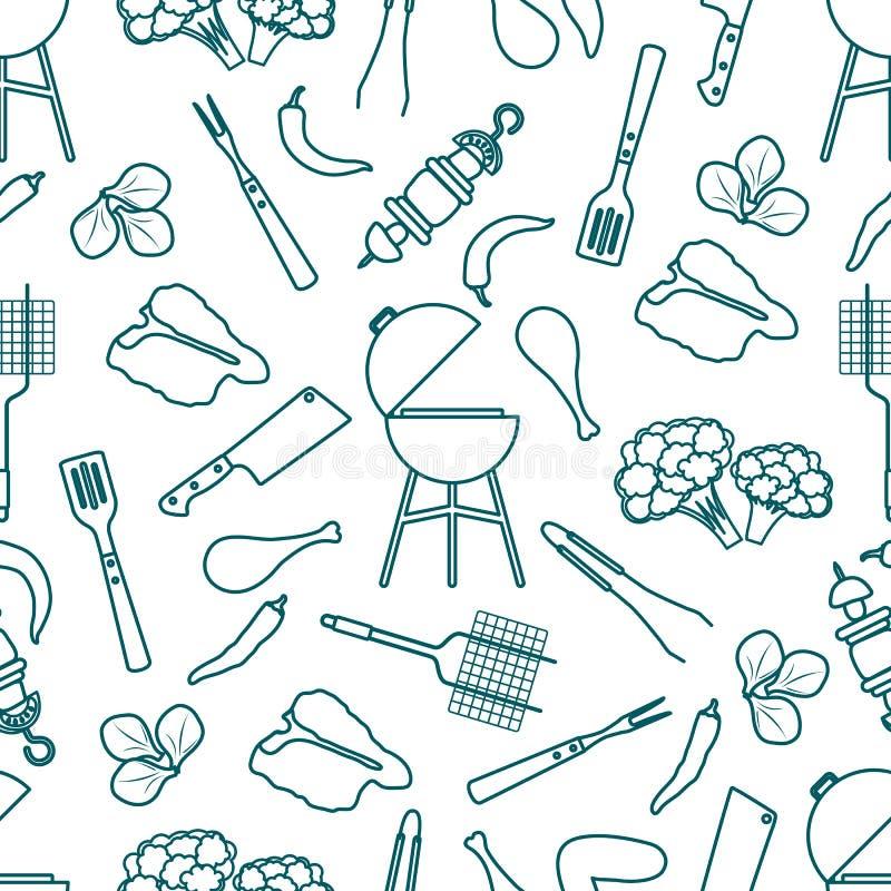 Bezszwowy deseniowy grill, grillów narzędzia, jedzenie BBQ ilustracja wektor