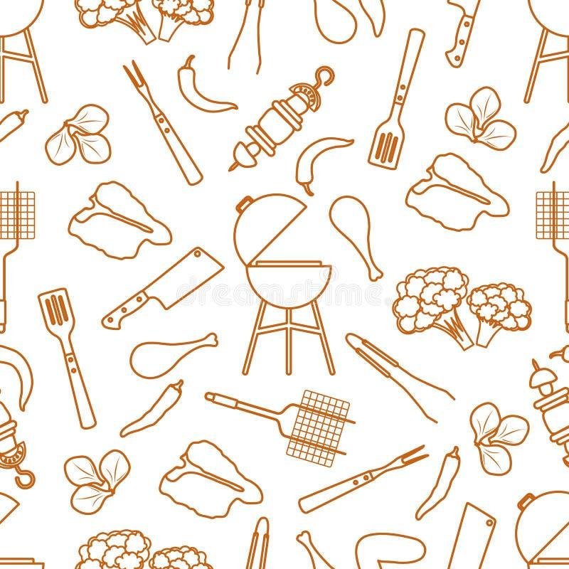 Bezszwowy deseniowy grill, grillów narzędzia, jedzenie BBQ royalty ilustracja