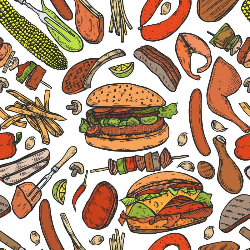 Bezszwowy deseniowy grilla grill ilustracji
