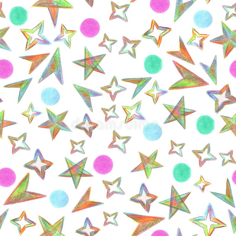 Bezszwowy deseniowy Gwiaździsty niebo malował z kolorów ołówkami ilustracja wektor
