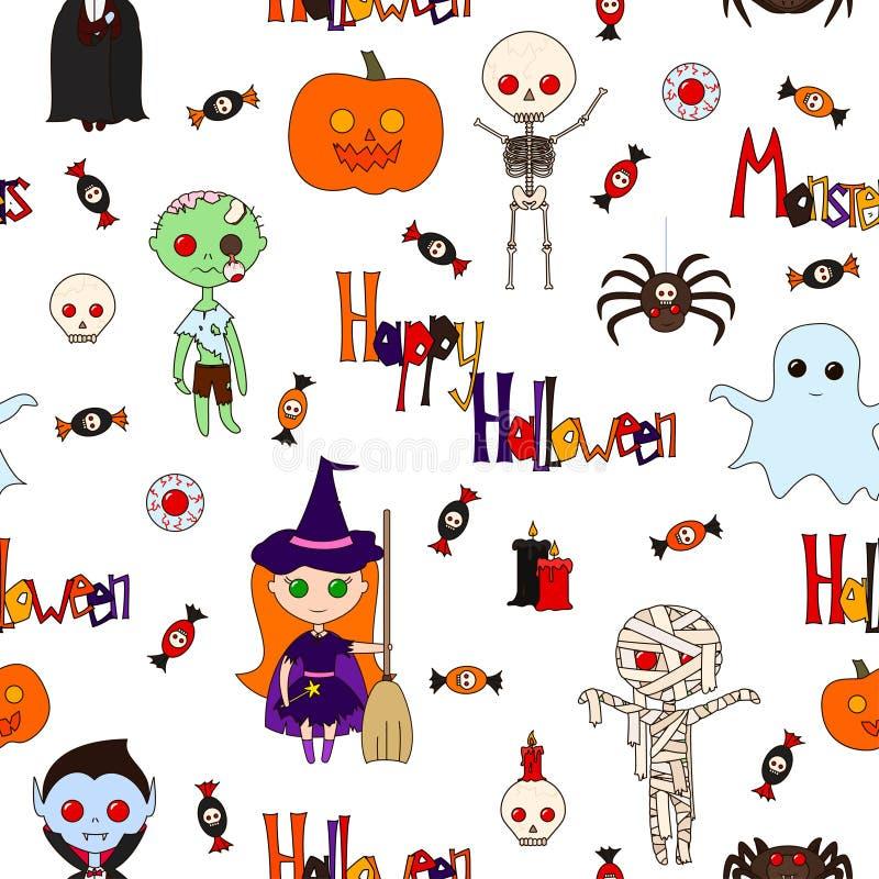 Bezszwowy deseniowy Halloween ilustracja wektor