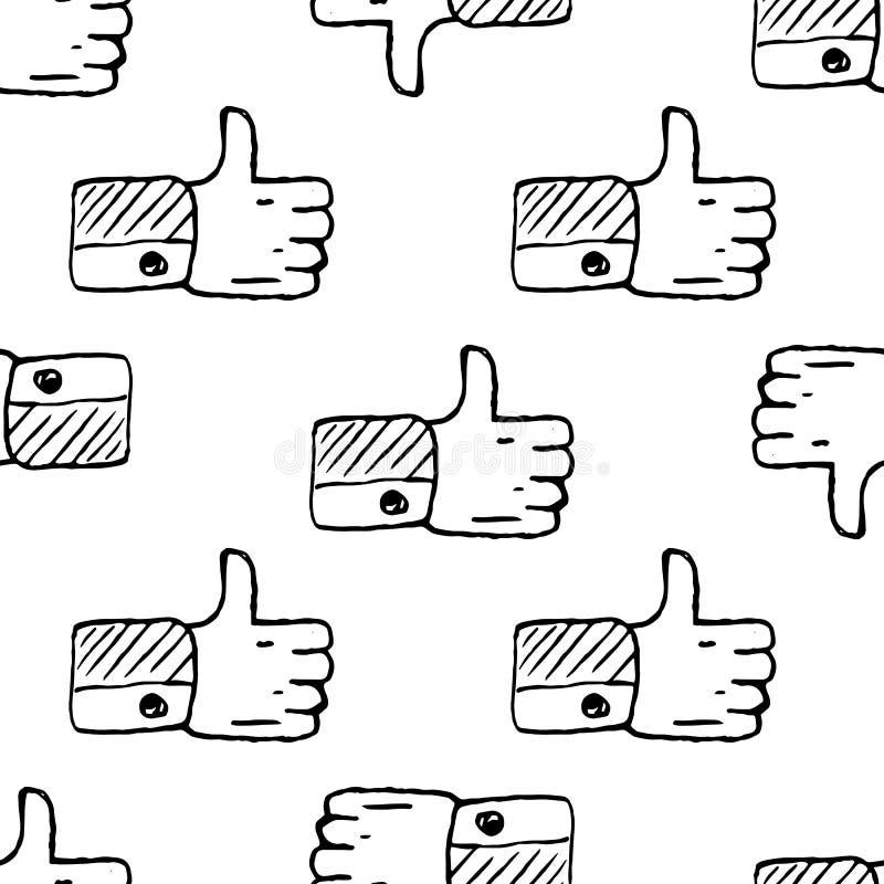 Bezszwowy deseniowy Handdrawn jak doodle ikona R?ka rysuj?cy czarny nakre?lenie szyldowy symbol Dekoracja element Bia?y t?o odoso royalty ilustracja