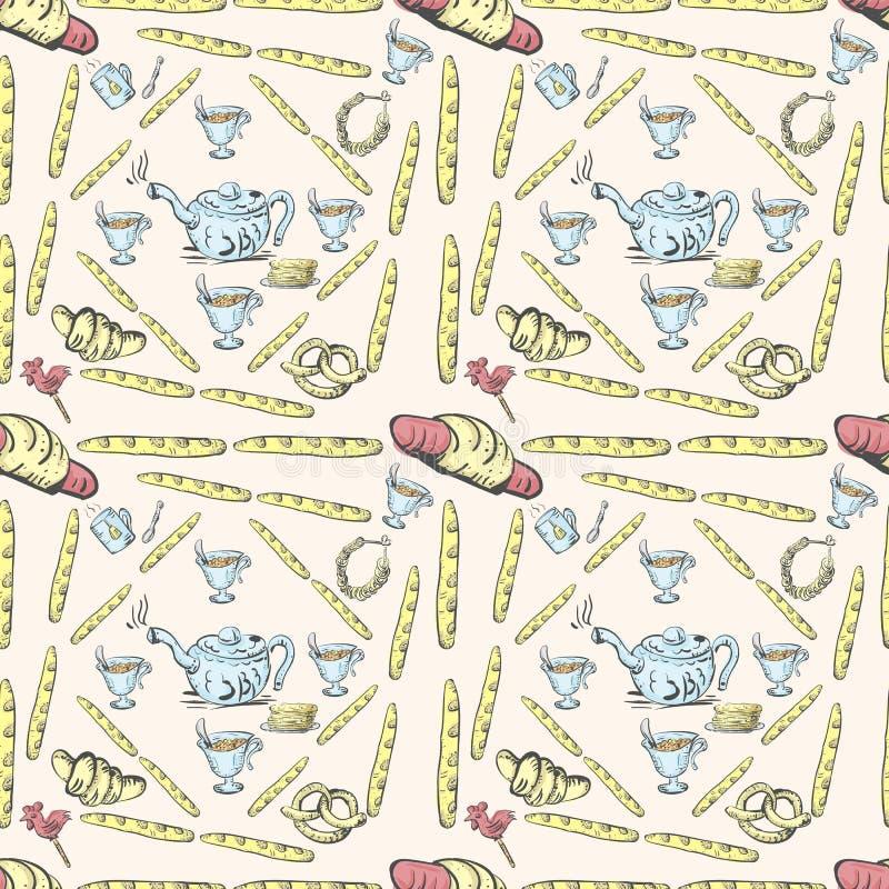 Bezszwowy deseniowy herbata set, ciasta i cukierki ilustracji