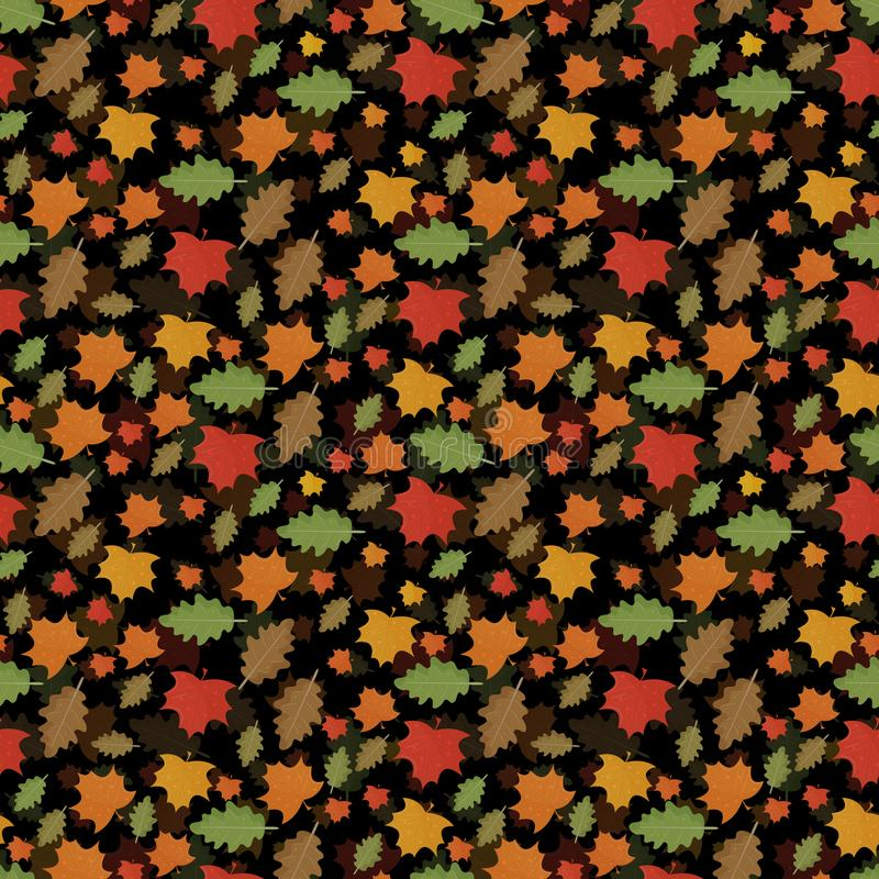 Bezszwowy deseniowy jesień tematu liścia spadek od klonu i dębowego urlopu ilustracji