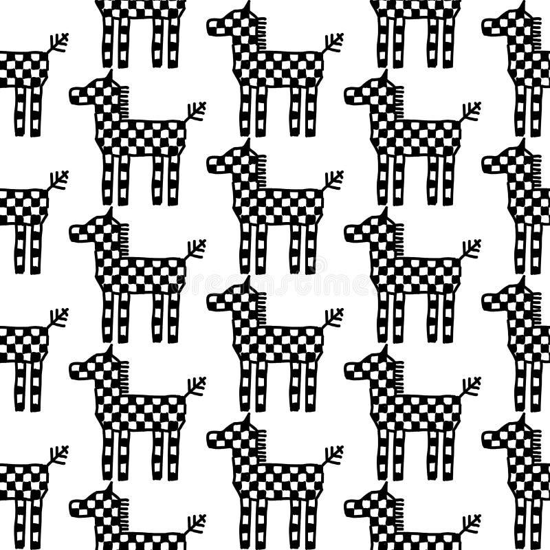 Bezszwowy deseniowy koński ornament Rosyjska ludowa broderia, czerń kontur odizolowywający na białym tle Może używać dla tkanin, ilustracji