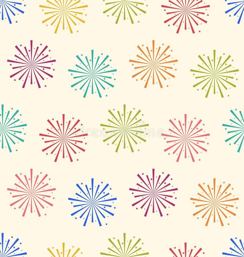 Bezszwowy Deseniowy Kolorowy fajerwerk dla Wakacyjnego świętowania wydarzenia royalty ilustracja