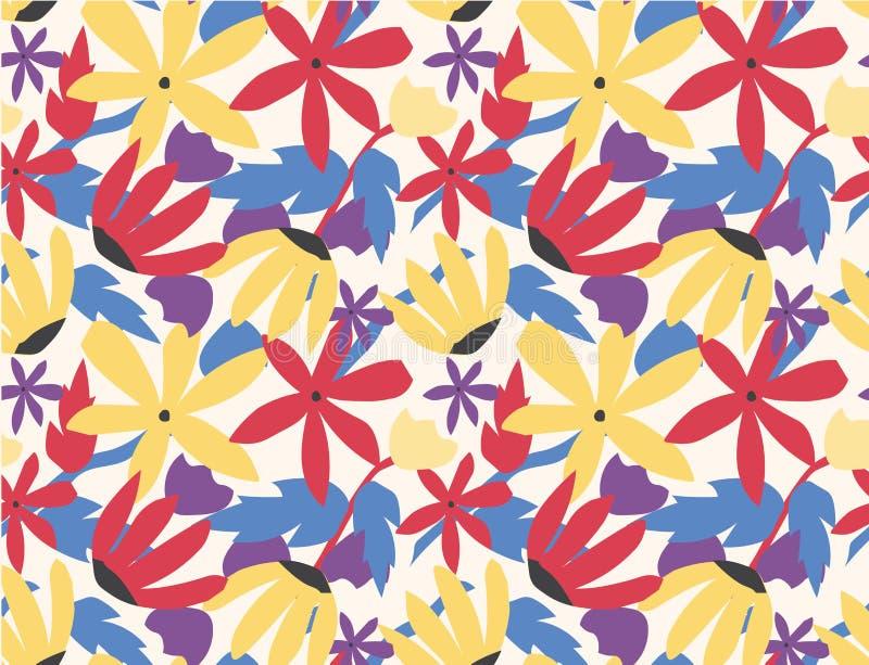 bezszwowy deseniowy kolorowy kwiatu wystrzału sztuki styl ilustracja wektor