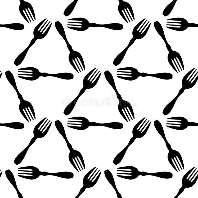 Bezszwowy deseniowy kulinarny czarny rozwidlenie, opakunkowy papier dla menu białego tła, książki kucharska okładkowy mockup ilustracja wektor