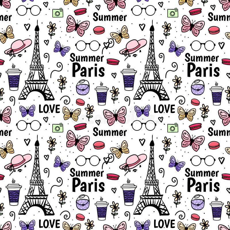 Bezszwowy deseniowy lato Paryż, wieża eifla, motyl Wektorowa ręka rysujący nakreślenie odizolowywający na bielu ilustracji