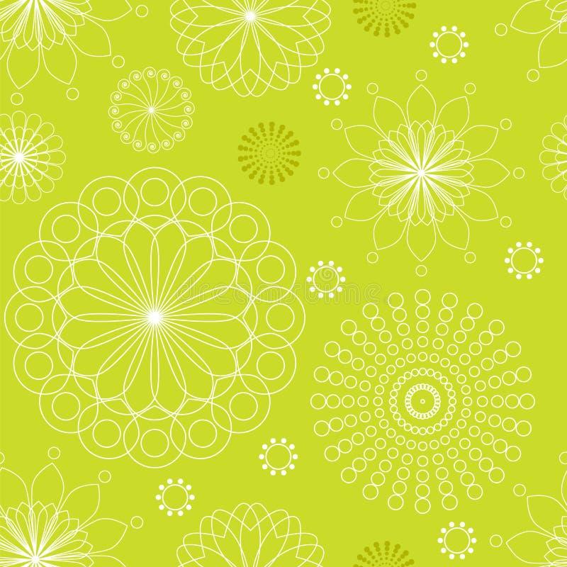 Bezszwowy deseniowy liniowy kwiecisty ornament na zielonym tle również zwrócić corel ilustracji wektora royalty ilustracja