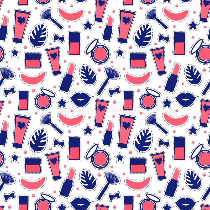 Bezszwowy deseniowy moda styl Ustalonego szyldowego piękna makeup Abstrakcjonistyczny kosmetyk butelkuje Wektorową ilustrację odi ilustracja wektor
