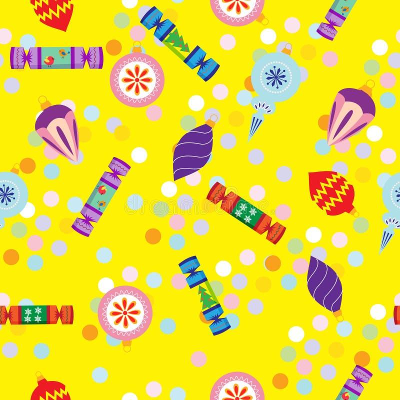 Bezszwowy deseniowy nowy rok z krakers, Bożenarodzeniowe dekoracje ilustracji