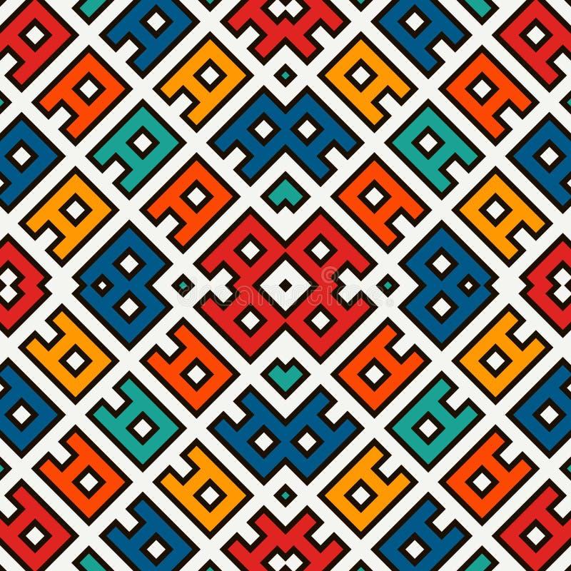 Bezszwowy deseniowy projekt z etnicznym ornamentem Hafciarski motyw Antyczna ornamentacyjna tapeta Częstotliwe geometryczne formy royalty ilustracja