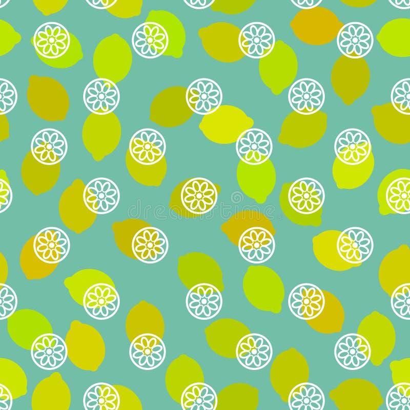 Bezszwowy deseniowy prosty z cytryną, wapno, żółta pomarańczowa cytrus owoc na błękitnym tle wektor ilustracja wektor