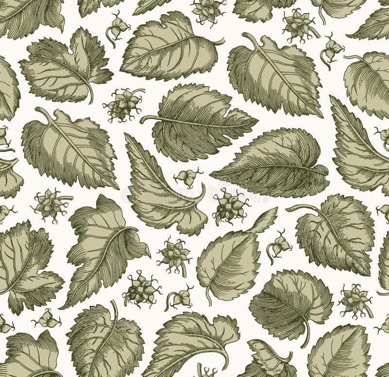 Bezszwowy deseniowy Realistyczny odosobniony kwiecisty rocznik tkaniny tła winogrono opuszcza Tapetową Rysunkową rytownictwo wekt royalty ilustracja