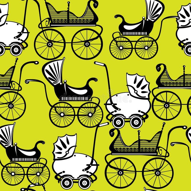 Bezszwowy deseniowy retro powozik na zieleni royalty ilustracja