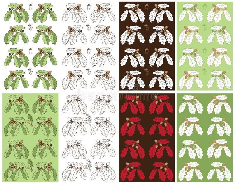 Bezszwowy deseniowy roślina dąb, acorn i ilustracji